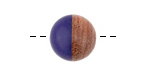 Walnut Wood & Indigo Resin Bead 15mm