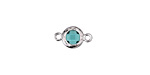 Sea Green Crystal in Silver (plated) Textured Bezel Link 8x13mm