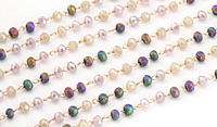 Twilight Mix Crystal 3mm Delicate Brass Bead Chain