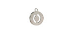 """Stainless Steel Initial Coin Charm """"O"""" 10x12mm"""