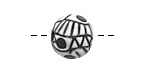 Golem Studio Black & White Abstract Carved Ceramic Round Bead 12mm