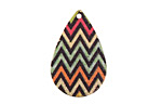 Chevron Etched & Printed Gold Finish Teardrop Focal 18x27mm
