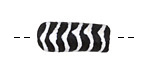 African Handpainted in White Stripes on Black Powder Glass (Krobo) Bead 19-20x11mm