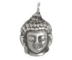 Greek Pewter Buddha Head Drop 23x36mm