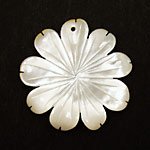Mother of Pearl Carved Flower w/Rounded Petals Pendant 40mm
