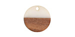 Wood & Alabaster Resin Coin Focal 18mm