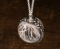 Glass Orb w/ Natural Feathery Flower and Pave Crystals 22mm