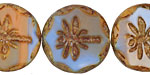Czech Glass Clay River Dragonfly Coin w/ Scalloped Edge 22mm