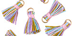 Lavender Fields w/ Pink Binding & Jump Ring Thread Tassel 18mm