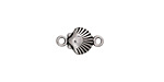 Antique Silver Finish Scallop Shell Link 15x8mm