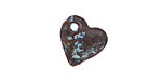 Greek Copper (plated) Patina Angled Heart Drop 15mm