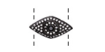 Clear w/ Jet Pave CZ Gunmetal (plated) Eye Focal 22x12mm