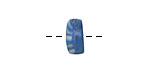 African Glass Kakamba Prosser Beads White on Sea Blue 4-5x10-11mm