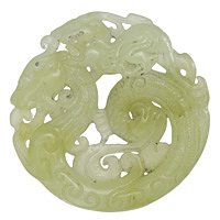 Green Soochow Jade Carved Round Pendant 53mm