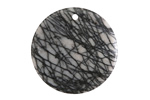 Black Water Jasper Thin Coin Pendant 30mm