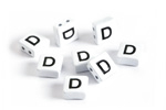 "White Enamel 2-Hole Tile Square Bead w/ Letter ""D"" 8mm"