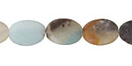Black Gold Amazonite (matte) Flat Oval 14x10mm