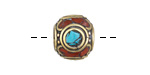 Tibetan Brass & White Brass Rondelle w/ Turquoise & Coral Mosaic 14x16mm