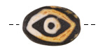 Tibetan (Dzi) Agate Black Evil Eye Flat Focal 30x20mm