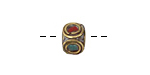 Tibetan Brass Cube Bead w/ Concentric Circles In Coral & Turquoise Mosaic 8-9mm