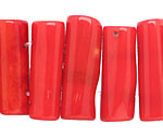 Red Coral 2-Hole Tube 9-14x22-30mm