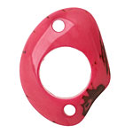 Tagua Nut Hot Pink Open Slice Link 40-48x32-40mm