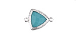 Green Turquoise Faceted Crystal in Silver (plated) Textured Bezel Triangular Focal Link 20x14mm