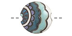 Golem Studio Blue Paisley Waves Carved Ceramic Lentil 23mm