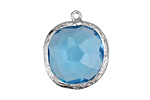 Capri Blue Faceted Crystal in Silver (plated) Textured Bezel Square Pendant 23x26mm