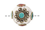 Tibetan White Shell & White Brass w/ Turquoise Center Coin Bead 25mm