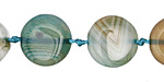 Sea Green Line Agate Puff Coin 16mm