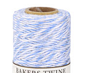 Blue/White & Metallic Silver Bakers Twine 2 ply, 410 ft