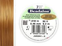"Beadalon Satin Gold .018"" 7 Strand Wire 30ft."