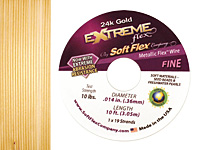 "Soft Flex Extreme 24K Gold .014"" (Fine) 19 Strand Wire 10ft."