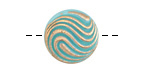 Czech Glass Turquoise w/ Gold Swirl Button 18mm