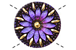 Czech Glass Amethyst Daisy Button 32mm