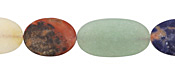 Multi Gemstone (matte) Puff Oval 15-25x13mm