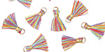 Rainbow w/ Gold Binding & Jump Ring Tiny Thread Tassel 12mm