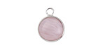 Lavender Quartz Coin Focal w/ Silver Finish 13x17mm