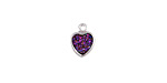 Metallic Solar Crystal Druzy Heart Charm in Silver Finish Bezel 8x10mm