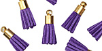 Purple w/ Gold (plated) Bead Cap Faux Suede Tassel 17mm