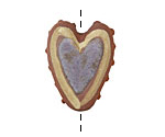 Gaea Ceramic Blue on Brick Tribal Heart 27-28x21-23mm