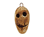 Earthenwood Studio Ceramic Crackle Root Skull Long Face Pendant 15-17x32mm