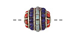 Tibetan Brass w/ Turquoise, Lapis & Coral Drum 17mm