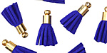 Cobalt w/ Gold (plated) Bead Cap Faux Suede Tassel 17mm