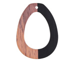 Wood & Jet Resin Open Teardrop Focal 28x38mm
