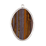 Tiger Iron Freeform Thin Slice w/ Silver Finish Bezel Frame Pendant 25x35mm
