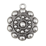 Antique Silver (plated) Beaded Shield Focal 33x40mm