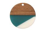 Walnut Wood & Succulent Resin Coin Focal 28mm