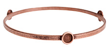 Nunn Design Antique Copper (plated) Large Flat Bangle Bracelet w/ Bezels 70mm